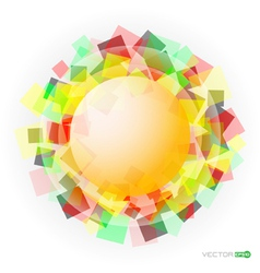 Yellow translucent sphere with colored squares vector