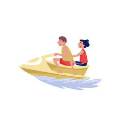 Young man and woman riding on water jetski vector