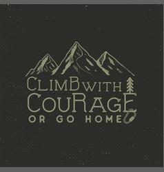 climbing vintage label design hand drawn badge vector image vector image