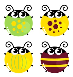 Cute colorful beetle set isolated on white vector image vector image