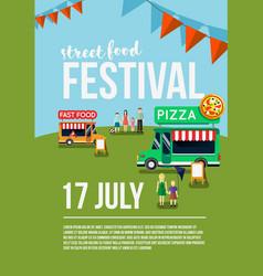 Food truck festival event flyer vector