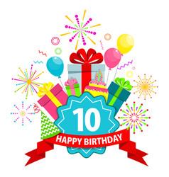 happy birthday card ten years vector image