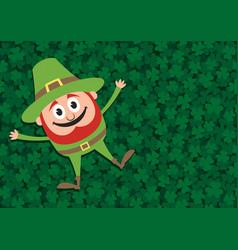 happy leprechaun on clovers vector image