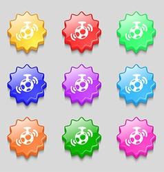 mirror ball disco icon sign symbol on nine wavy vector image vector image