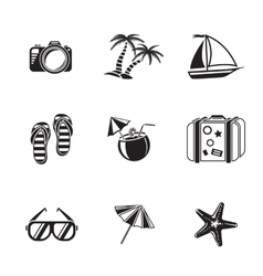 Summer holidays monochrome icons set with - vector image