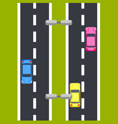 two way roadway top view vector image