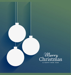 Clean christmas background with flat hanging xmas vector