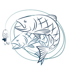 fish and fishing line with baited vector image vector image