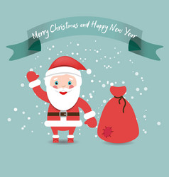 Funny Santa Claus with bag in red suit under snow vector image vector image