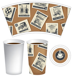 Paper cup for hot drink with postage stamps vector