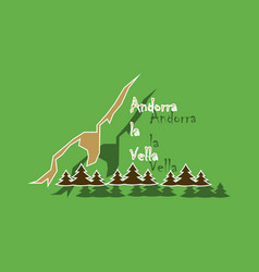 paper sticker on theme of andorra logo mountains vector image vector image