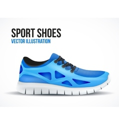 Running blue shoes Bright Sport sneakers symbol vector image
