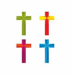 set of christian crosses vector image