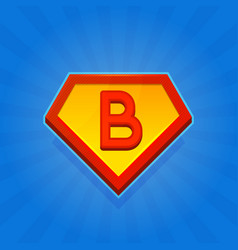 superhero logo icon with letter b on blue vector image vector image
