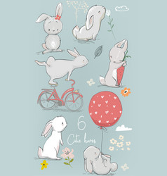 6 cute cartoon hares vector image vector image