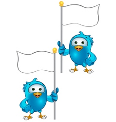 Blue Bird Holding A Flag vector image vector image