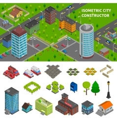 City Constructor Isometric Banners vector image vector image