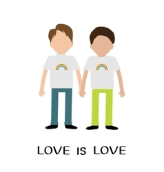 Gay family Boy couple Rainbow on shirt Love is vector image