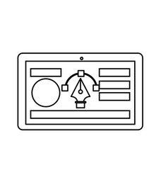Line tablet with business website and arrow cursor vector