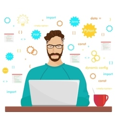 Man programmer hipster is working coding and vector image