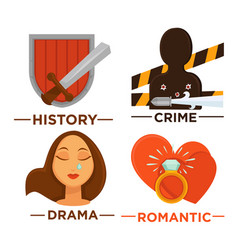 movie genre icons flat isolated symbols vector image