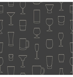 Seamless pattern made of linear drinkware vector