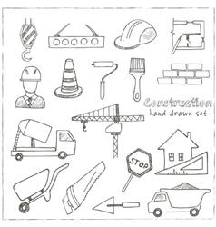 Set of doodle sketch Architecture Construction vector image