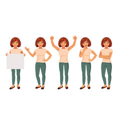 set of girls in different poses vector image vector image