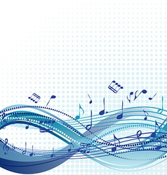 Abstract blue music background with notes vector image