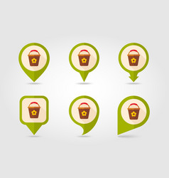 bucket flat pin map icon vector image vector image