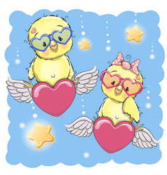 cute lovers chickens vector image vector image