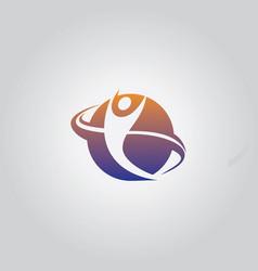 round happy man logo vector image vector image