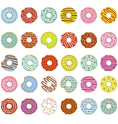 set of isolated donuts vector image