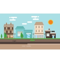 street shop building flat town old vector image