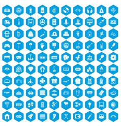 100 entertainment icons set blue vector