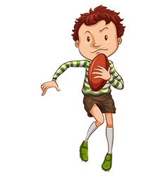 A simple drawing of a young rugby player vector