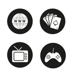Addictions and bad habits black icons set vector