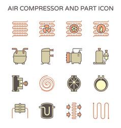 Air compressor and part icon set design editable vector