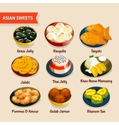 Asian Sweets Set vector image