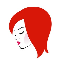 Beautiful redhead wearing a red lipstick vector image