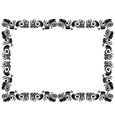 Black and white frame of blank with floral vector