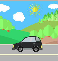 Black car on a road on a sunny day vector
