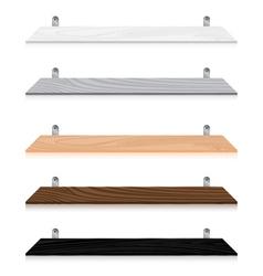 Blank wooden bookshelf set isolated on white vector