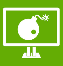 bomb on computer monitor icon green vector image