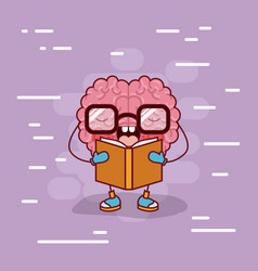 brain cartoon with glasses and reading a book and vector image