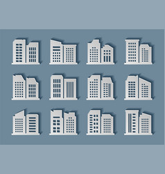 building paper art collection hand made city vector image
