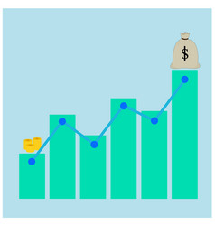 Business growth money graph icon vector