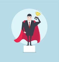 businessman holding a trophy on podium vector image