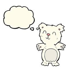 cartoon cute polar bear cub with thought bubble vector image