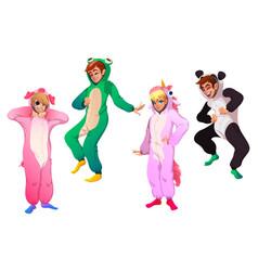 characters in animal costumes people in kigurumi vector image